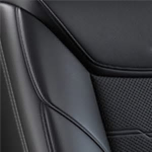 Jet Black Semi-Aniline Leather Seating with Jet Black accents and Chevron Perforated Inserts