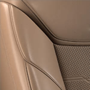 Maple Sugar Semi-Aniline Leather Seating with Jet Black accents and Chevron Perforated Inserts